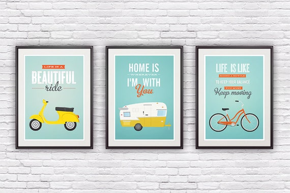 Three poster set,  retro print, Bike poster, Vespa, Shasta trailer poster, quote print, inspirational art, quote art, positive prints A3