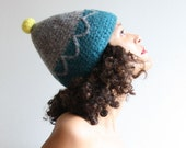 petrol, stone crochet and felted hat with neon accent - zenithats