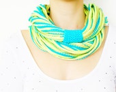 FREE SHIPPING // SCARF // Infinity Eternity Scarf Noodle Scarves Cotton Fashion Circle Necklace Chunky Cowl Turquoise Green Yellow - Sudrishta