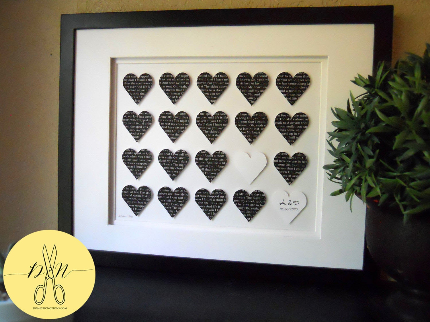 Unique Wedding Gifts Canada : Personalized Wedding Gift : Custom Wedding Artwork paper love hearts ...