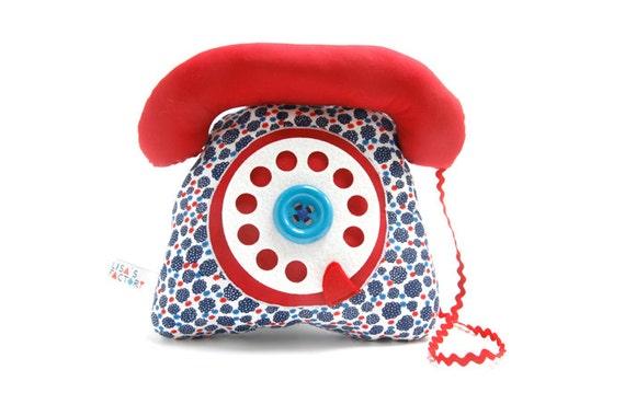 dial telephone play cushion velcro handset marine blue red flowers pattern - telephone à cadran combiné avec velcro bleu marine rouge fleurs