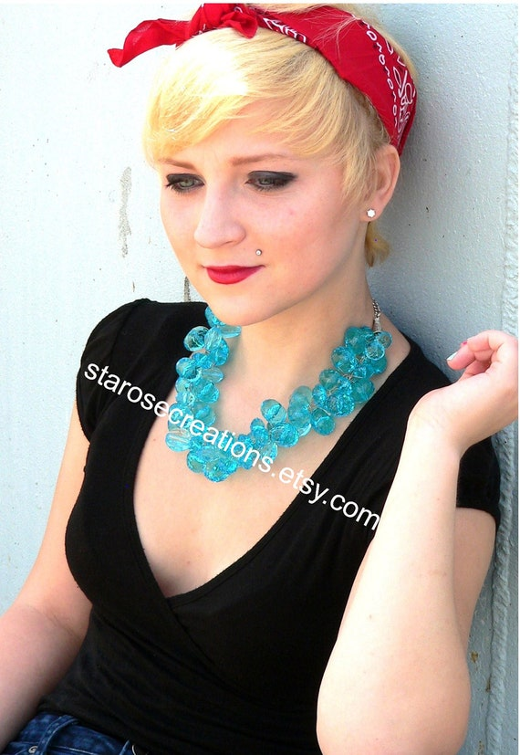 Chunky Turquoise Blue Beaded Wire Crochet Statement Necklace Wedding Bridal Prom Quinceanera  -  Coconut Blue Rock Candy