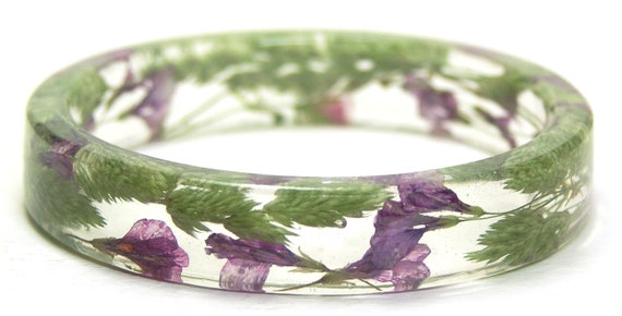 Flower Jewelry- Resin Bangle-Jewelry with Real Flowers- Flower Bracelet- Pink Flowers- Green  Bracelet-Resin Jewelry-Green Bracelet