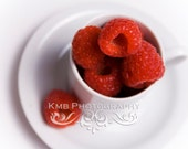 Berry Sweet.  Red Rasberries in White Cup and Saucer Kitchen Decor Fine Art 8x12, 8x10 or 8x8 Photograph - kmbphoto