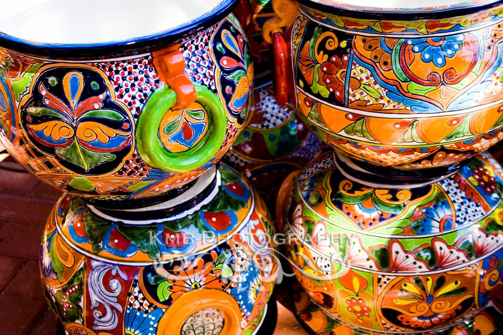 Heritage. Colorful Mexican Ceramic Pottery Kitchen by KMBphoto