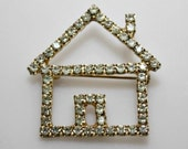 Nice Vintage Gold Tone Metal / Clear Rhinestones Pin / Brooch  -  House - estate sale find - estatesalegems
