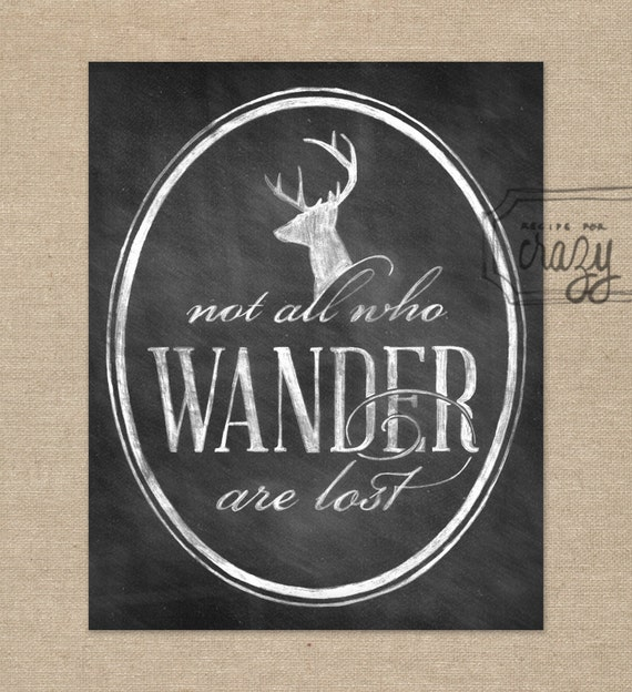 Not All Who Wander 8x10 Chalk Art Print