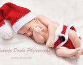Crochet Santa hat and diaper cover set newborn photography prop - ready to ship - CraftsAndPhotography
