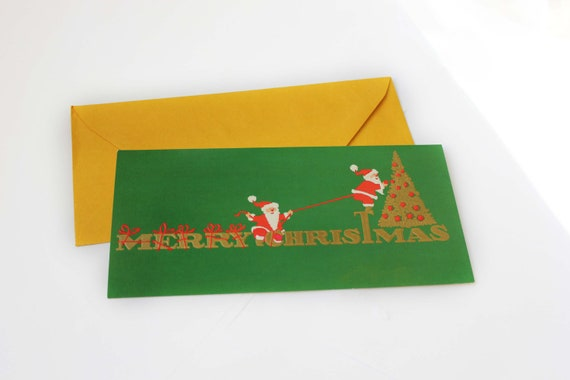 Set of Vintage Merry Christmas Red Green and Gold Santa Cards with Envelopes