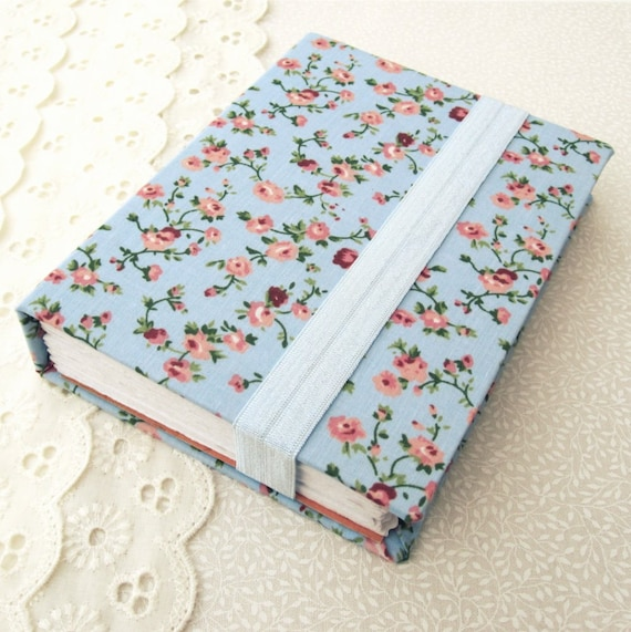 Vintage Floral Journal - A  Blank Notebook in Pastel Blue,Peach Pink & Asparagus Green Fabric