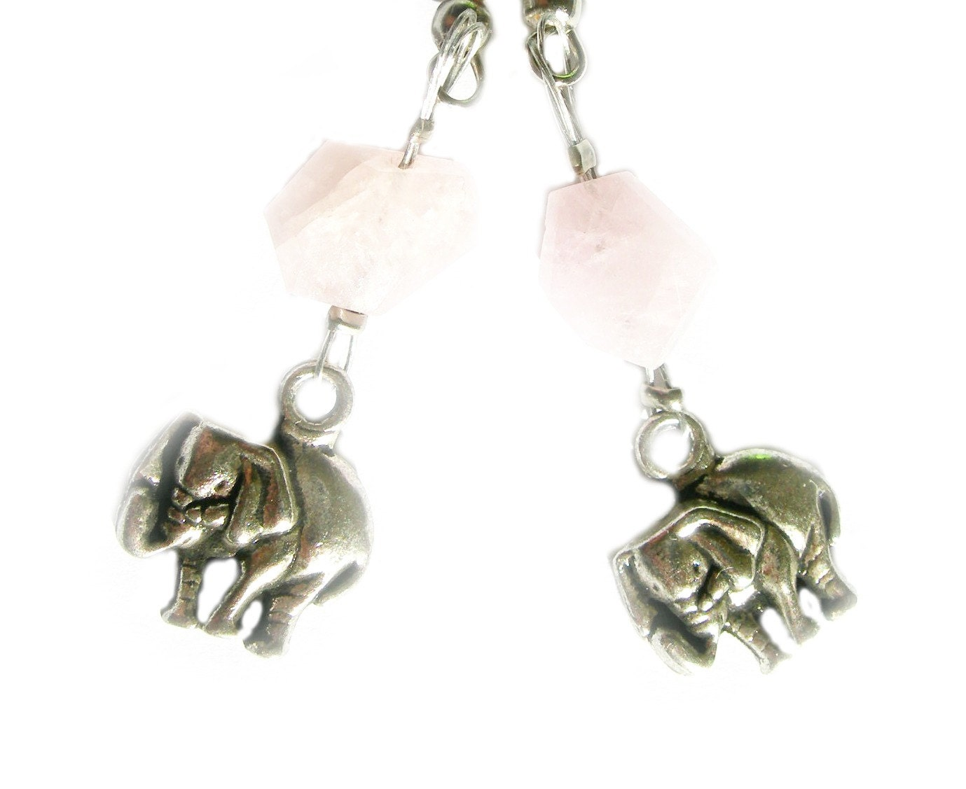 Elephant Earrings on Elephant Jewelry Pink Elephant Earrings Gift By Thewildroses