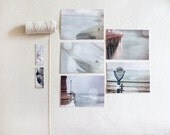 Beach Postcard Set - Five (5) piece 4x6 framable / pastel soft delicate pink aqua / nautical romantic sea ocean beach lover - BokehEverAfter