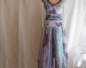 Romantic Tattered Dress Pale Blue Purple Upcycled Woman's Clothing Funky Style Shabby Chic Eco Friendly Style Upcycled Clothig - cutrag