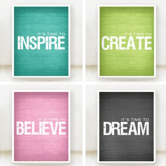 Inspire, Believe, Create, Dream - Inspirational Prints - Set of 4 - 8x10 Posters - Teal, Lime Green, Grey, Pink - Customize color