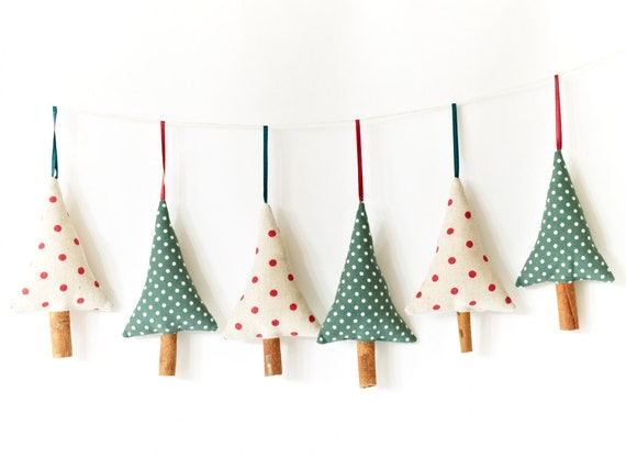 Set of 3 Handmade Christmas Decorations Rustic Green Polka Dot