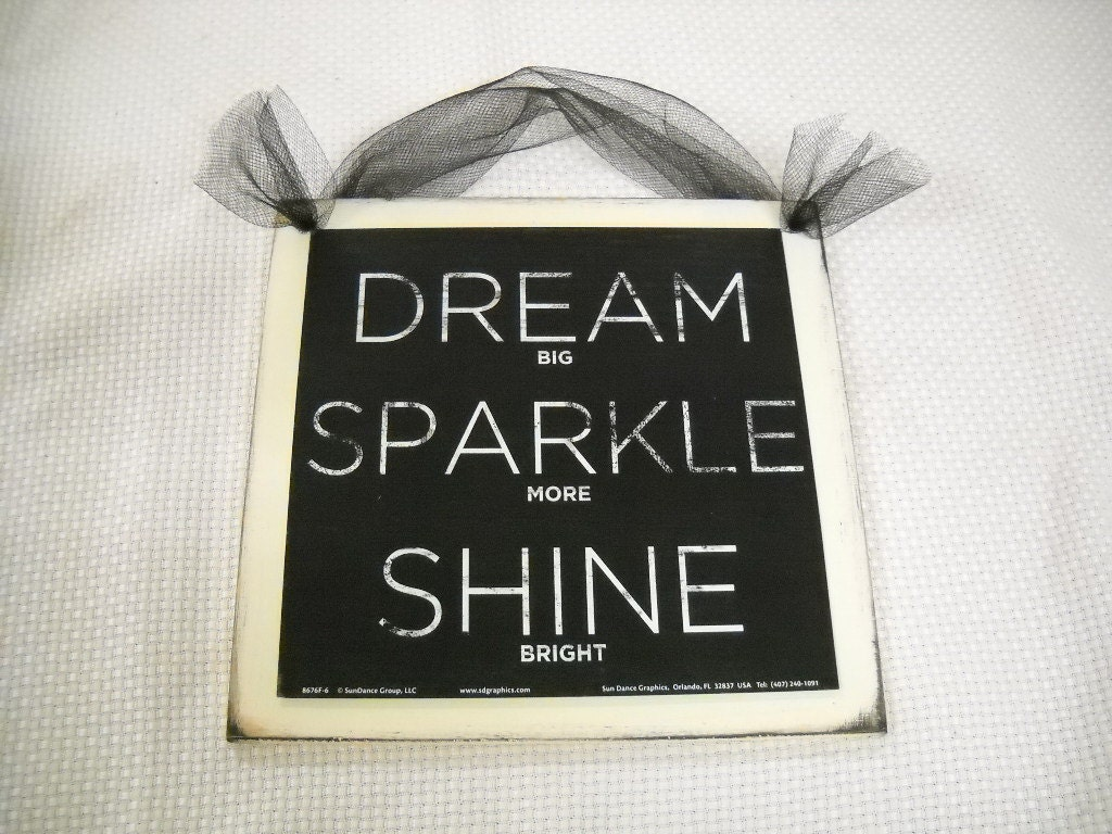 Dream Sparkle Shine Wooden Wall Art Sign Teen Girls by melimarlatt