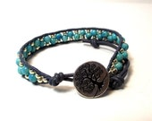 Turquoise River Stone SIngle Wrap Bracelet