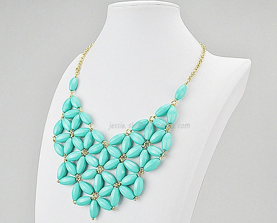 Chunky Necklace, Turquoise Blue Bib Necklace, Statement Necklace (FN0511-Turquoise Blue)