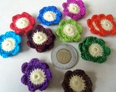 Handame Crochet Flowers with Yellow Center. Set of 20.