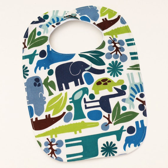 baby bib. blue, green and brown jungle animals. baby boy.