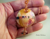 Polymer Clay Pendant with Crystal Fringe on Long Copper Chain  PN 757 - StudioStJames