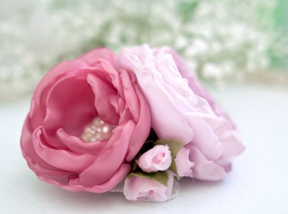 Pink Flowers Hair Clip Rose Wedding Flower Headpiece Bridal Hair Clip Bridesmaids Hair Flower Accessory
