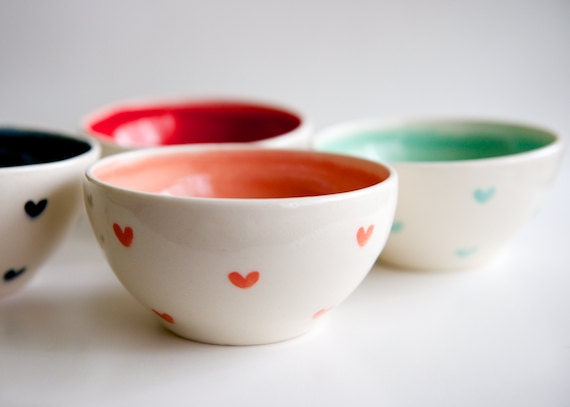 Mint and Coral Teal and Red Heart Bowls- Set of 4- Hand made pottery by RossLab (made to order)