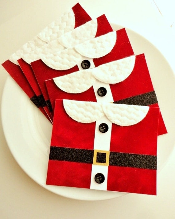Christmas Card Set of 5 Red Velvet Santa Suit, Funny Holiday Card Pack, Handmade, Black Red White