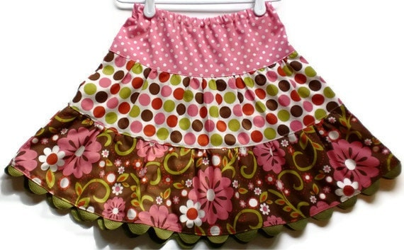 Fall Girl's Floral and Polka Dot Twirl Skirt, Sizes 3T - 6