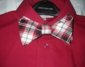 Plaid Bowtie in Red White Gray and Black