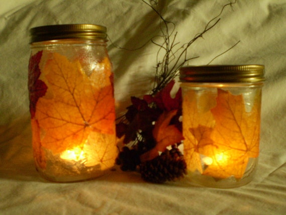 Fall Leaves Glass Tealight Holders - Quart and Pint, set of two with tealight candles