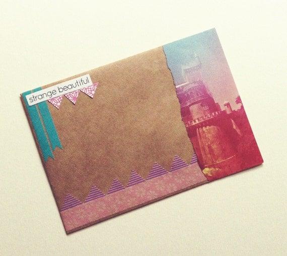 "OOAK Mail Art Piece - ""strange beautiful"""
