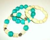 Turquoise and White Wooden Stretch Bracelets (Set of 3)