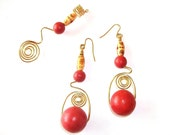 Dreadlock Jewelry - Golden Brass Spiral  and Wooden Bead Loc Jewel and Earrings Set