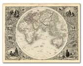"13x17"" Antique World Map printed on parchment paper, Eastern Hemisphere 1851  , Vintage map, Europe - DejaVuPrintStore"
