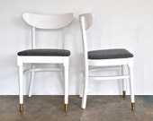 White Mid Century Chairs - Grey Wool Upholstry - charliesnest