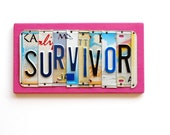 SURVIVOR, OOAK License Plate Art, Pink Custom Home Decor,Breast Cancer Awareness - UniquePl8z