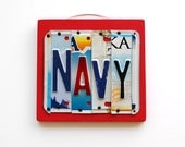 NAVY, License Plate Art, Custom Home Decor, Wall Hanging, Sailor, Unites States Navy, Sea bee, sea men, father's day gift, retirement - UniquePl8z