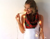 Christmas Circle Scarf - Poinsettia - Red Scarf - Winter Fashion - Infinity Scarf - Holidays - TheSilkMoon