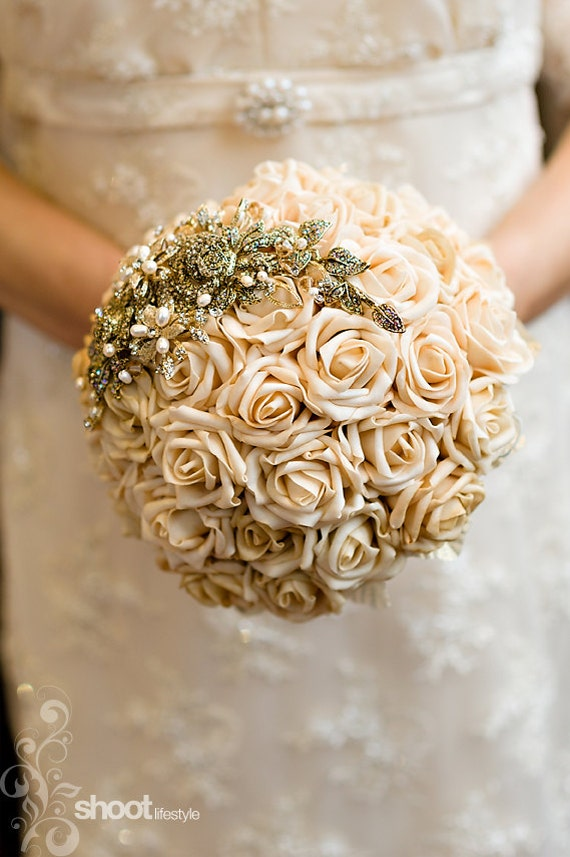 8 inch taupe handtied wedding bouquet with gold rose detail