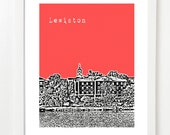 Bates College Poster - Lewiston Maine City Skyline Series Art Print - 8x10