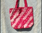 Batik Canvas Tote Bag - Stripes and Polka Dots - Red - Hand Dyed - 13.5 X 13.5