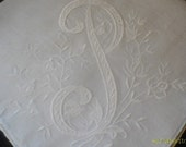 Vintage Initial P White Wedding Handkerchief  Large 15.5 by 15.5 - givemea2ndchanceplez
