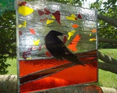 OOAK Halloween Crow Stained Glass Transom Window Suncatcher Panel Modern 12 x12 - HelioGlass