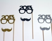Perfect Holiday Photo Props - Set of 6 - Gold, Silver and Black Glitter Mustaches and 2013 Glasses - New Years Props - Photo Booth Props - PAPERandPANCAKES