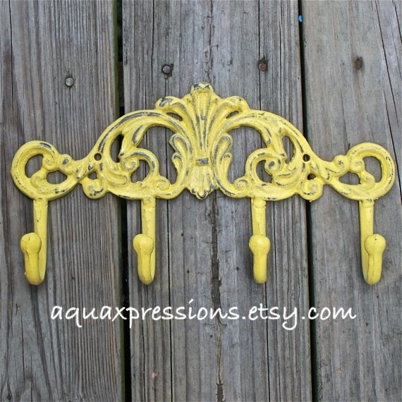 Bright Yellow Wall Hook /Metal /Shabby Chic by AquaXpressions
