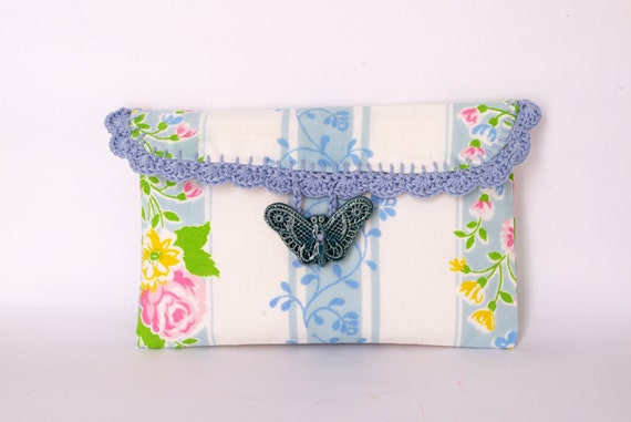 Blue butterfly Clutch Retro Make up bag Carry all bag