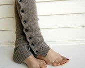 Knit Leg Warmers Boot Cuffs Socks Button Down Lace Trim- Camel - knitwit321