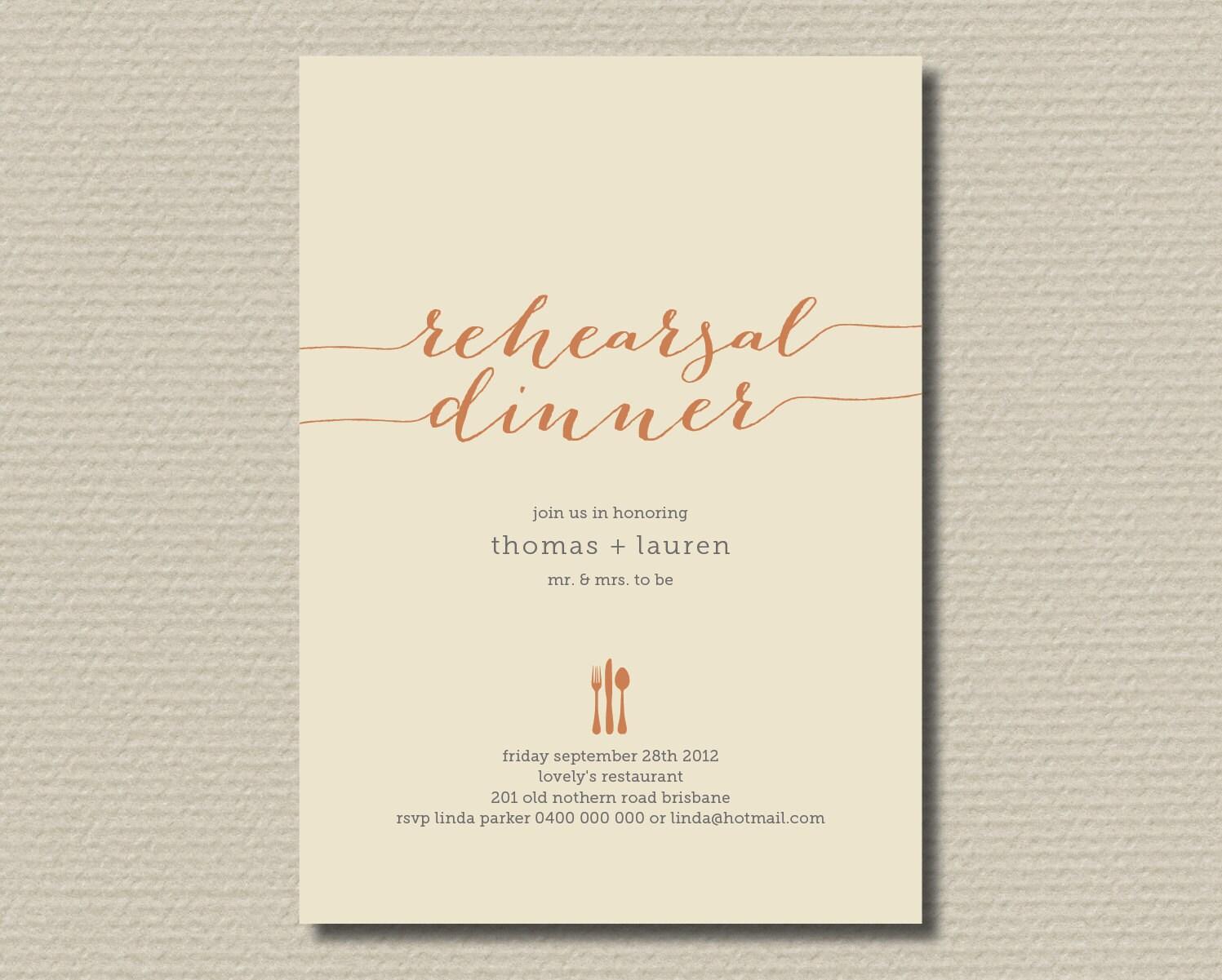 Printable Wedding Rehearsal Dinner Invitation in by rosiedaydesign