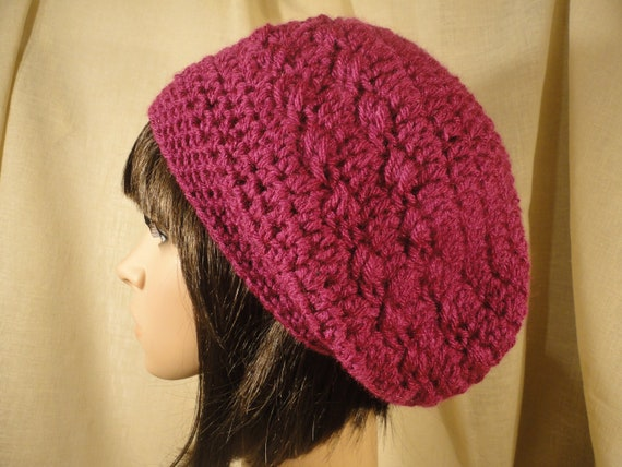 Crochet Slouchy Hat Beanie Rasta Raspberry, Fuschia Teen or Woman